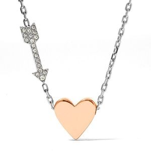 Fossil Heart and Arrow Stainless Steel Necklace